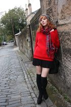 red handmade sweater - black H&M skirt