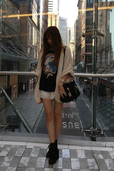 ivory lace Zara shorts - black rubi shoes - black Chloe bag