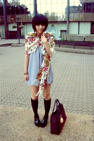 H&M bag - oxford peeptoe shoes - self-customized dress - scarf