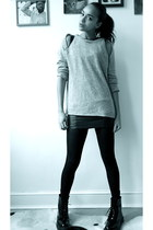 heather gray cashmere storetscom sweater - black patent doc martens boots