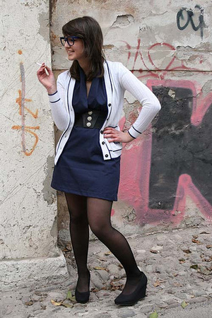 American Apparel dress - H&M shoes - vintage jacket - vintage glasses