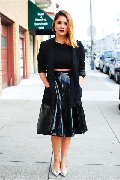 black H&M blazer - black Tobicom top - black Wasteland skirt - silver Zara flats