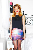 violet Galaxy leggings skirt - black Topshop top - black Nasty Gal cardigan