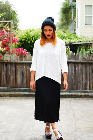 black thrifted vintage dress - white Zara sweater - silver SoleStruck heels
