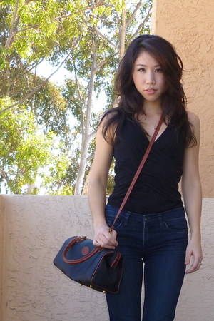 dark green Fendi bag - navy Blank Denim jeans - black MNG shirt