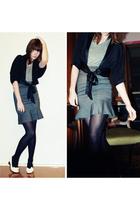 supre skirt - bardot blouse - American Apparel shirt