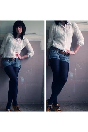 shirt - vintage belt - supre shorts