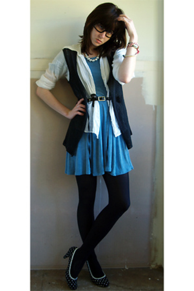 black vintage vest - blue vintage BCBG dress - white japan shirt