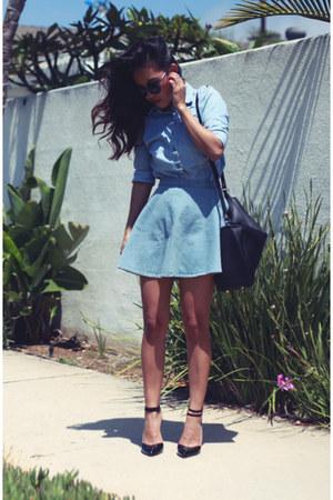 asos shoes - vintage shirt - Zara bag - denim circle American Apparel skirt
