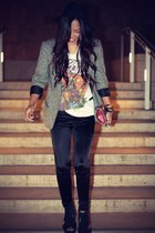 Express leggings - tweed Urban Outfitters blazer - fyasko t-shirt