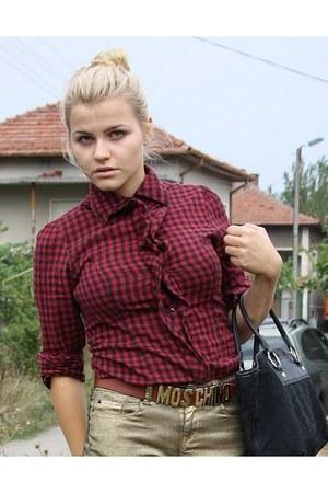 brick red denim shirt - bronze Zara jeans - dark brown Moschino belt