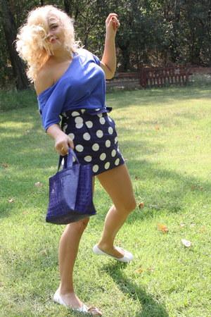 navy Internacionale skirt - blue Mango shirt - navy Furla bag