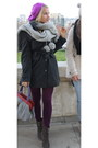 Heather-gray-atmosphere-coat-magenta-h-m-hat-periwinkle-river-island-scarf