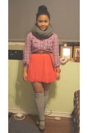 maroon garage shirt - gray f21 scarf - red Dynamite skirt - brown Aldo wedges