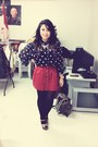 Navy-polkadot-vintage-blouse-red-button-down-forever21-skirt