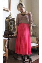 black random from Hong Kong boots - camel Monki top - hot pink Monki skirt - bla