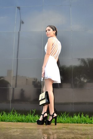 black Anne Klein bag - white made by me dress - black Brash heels