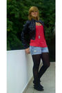 Black-kaya-boots-black-betsey-johnson-tights-blue-american-eagle-shorts-bl