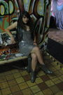 Silver-lu-lu-lame-dress-gray-thrifted-boots-black-thrifted-vest