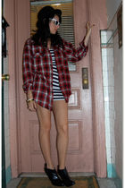 red vintage from Rock Paper Vintage shirt - blue Forever 21 dress
