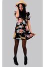 Black-vintage-betsey-johnson-dress-yellow-bdg-hat