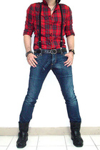 plaid shirt - dsquared fuk jeans - dr martens boots