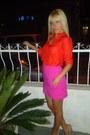 Orange-zara-shirt-pink-zara-skirt-nude-aldo-heels