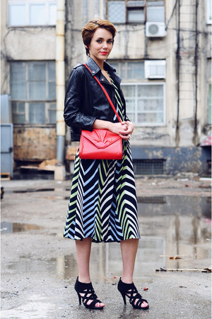 black new look shoes - white kudu dress - black new look jacket - ruby red vinta