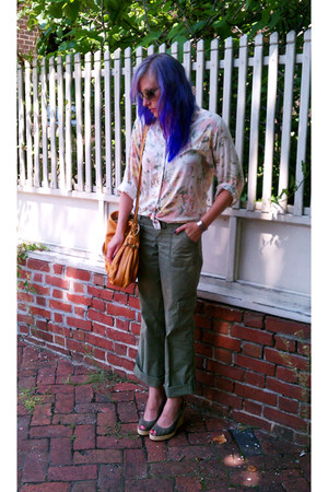 cream thrifted vintage shirt - mustard Chloe purse - olive green LEI pants