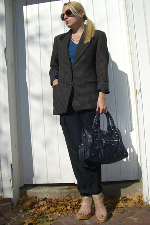 banana republic pants - vintage blazer - Gap t-shirt - balenciaga purse - D&G ne