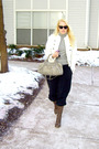 Black-theory-pants-white-anne-taylor-loft-jacket-brown-fiorentinibaker-boots