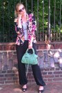 Black-urban-outfitters-blazer-aquamarine-balenciaga-bag-black-bcbg-pants