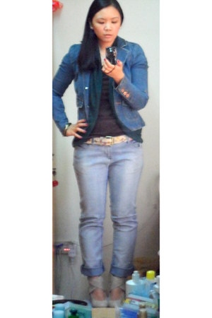 denim Forever 21 jacket - Max jeans - Stradivarius shirt - Stradivarius belt