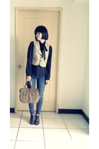 blouse - vest - jeans - shoes - purse