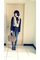 blouse - vest - jeans - shoes - purse
