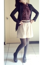 shirt - shorts - tights - shoes - belt - blazer