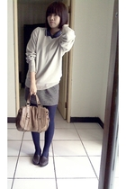 blue top - silver sweater - gray skirt - blue tights - brown purse