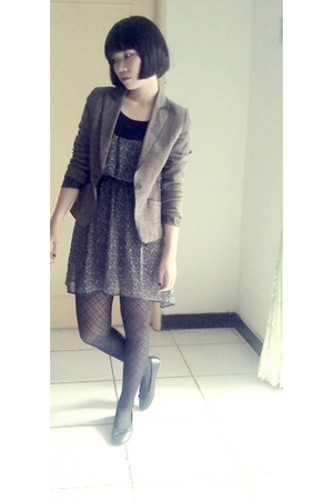 brown jacket - gray dress - black socks - black shoes