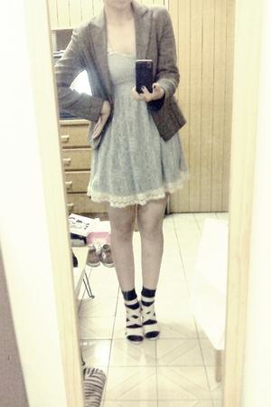 silver dress - brown blazer - black socks - white shoes