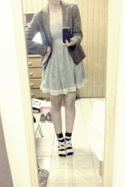 silver dress - brown blazer - black socks - white shoes