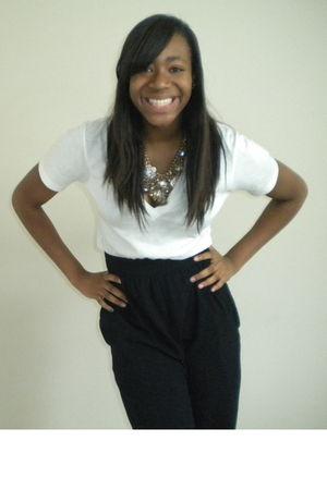 white American Apparel t-shirt - black American Apparel pants