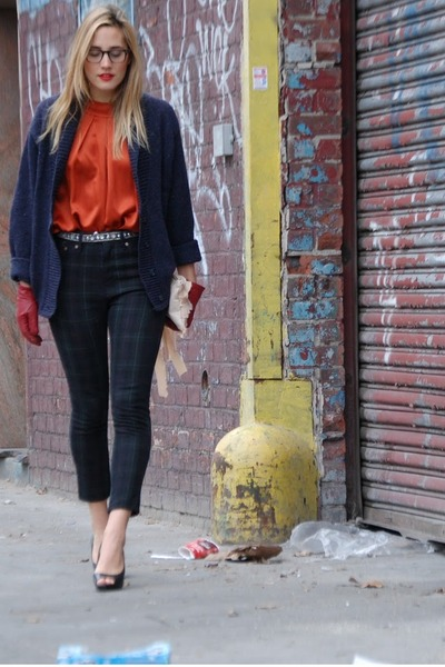 brick red silk blouse ADAM blouse - peach ribbon clutch foleycorinna bag