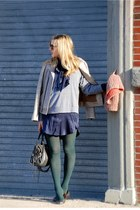 heather gray American Apparel sweatshirt - navy silk dress ADAM dress