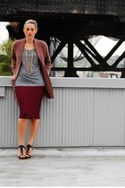 maroon BCBG skirt - pink J Crew sweater - charcoal gray Club Monaco shirt