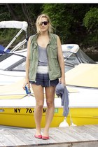 red Gap flats - navy crochet Zara shorts - army green Denim & Supply vest