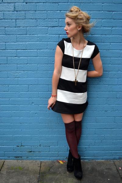 maroon new look socks - black Primark boots - navy Wal G dress