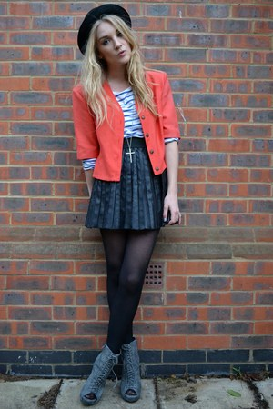 coral vintage jacket - gray Ella Tino boots - black bowler hat H&amp;M hat