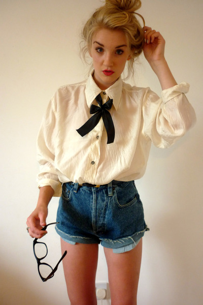black Primark glasses - blue denim cut offs thrifted shorts