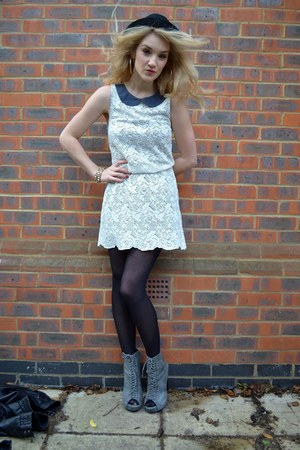 gray Ella-Tino boots - cream Vero Moda dress - black bowler hat H&amp;M hat