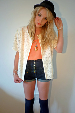 black bowler H&M hat - cream lace thrifted jacket - navy Topshop shorts - navy P